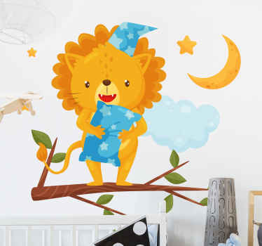 Illustrative animal wall sticker for children. The design is a baby lion (cub) with a pillow on a tree, it simply depicts the lion sleeping on a tree.