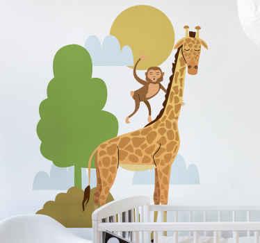 Un adhesif sympathique pour chambre d'enfants avec un dessin de girafe et de singe. Vous pouvez choisir la taille que vous préférez pour cet adhesif.