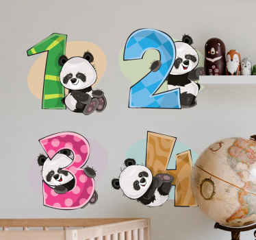kids wall art sticker representing four pandas with the numbers 1, 2, 3, and 4.  Choose it in any size you want to fit the desired space.
