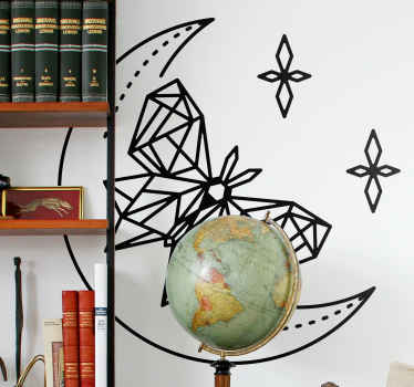 Decorate the surface of your wall with this ornamental moon with butterflies on it and it comes in different size options.