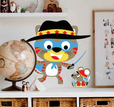 Maak de slaapkamer van uw kleintje interessant en leuk met ons decoratieve kat en zwaard sticker voor kinderen. Makkelijk aan te brengen en van hoge kwaliteit.