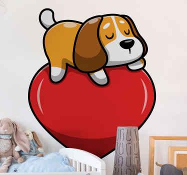 子供の寝室のためのかわいい眠っている子犬と装飾的な愛の心のデカール。ただし、デザインは他の任意のスペースに配置できます。