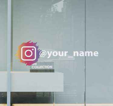 Customize your business name on our Instagram logo sign sticker. Direct your customers to your Instagram page with this Instagram logo banner.
