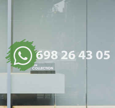 Personalice el nombre de su empresa en este vinilo WhatsApp para escaparates que podrás colocar en el interior o exterior de cristal ¡Compra online!