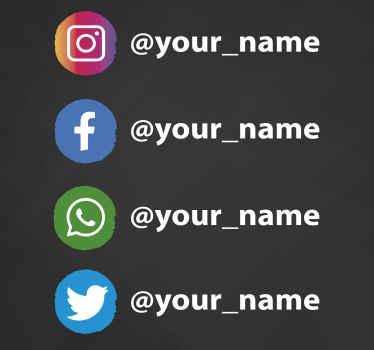 Questo design adesivo per vetrine presenta i loghi instagram, facebook, whatsapp e twitter in piccoli cerchi. Materiale estremamente duraturo.