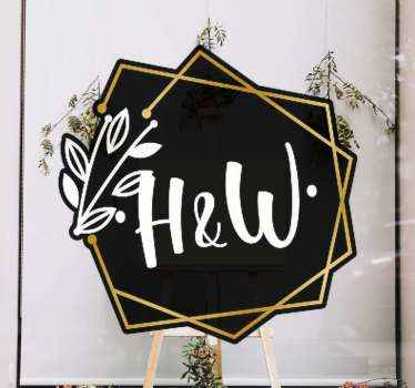 Say I do to this stunning ornamental wedding sign sticker! You can personalise it with the bride and grooms initials. Easy to apply.