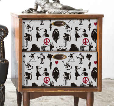 Banksy pattern furniture sticker to bring a bit of the streets of Great Britain into your home! These amazing designs will not disappoint!