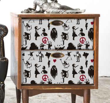 Banksy mønster møbler klistermærke for at bringe lidt af gaderne i storbritannien ind i dit hjem! Disse fantastiske designs skuffer ikke!
