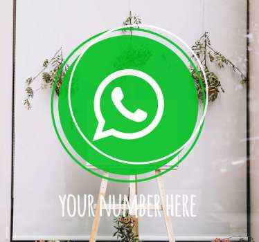 Glass sticker which features a stylish, modern circle design in the classic green Whatsapp colour with the Whatsapp logo inside.