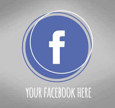 Cet autocollant en verre présente un design de cercle chic et moderne dans les couleurs facebook bleu et blanc classiques avec le logo facebook à l'intérieur.