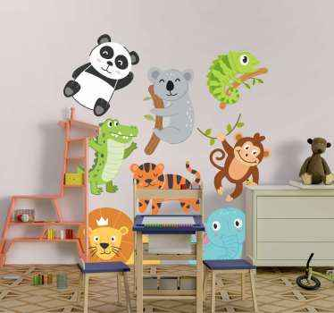 Cute autumn animal wall sticker set perfect for your little one's room. These adorable cartoon animals will look amazing on their walls.