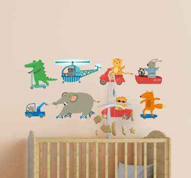 Pack of animal sticker with illustrations of different cartoon animals transporting. The design shows animals moving on skateboard, trailer, car, etc.