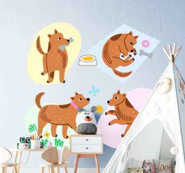 This cute kids sticker design features a dog doing numerous daily activities including eating a bone, sleeping, walking and playing.