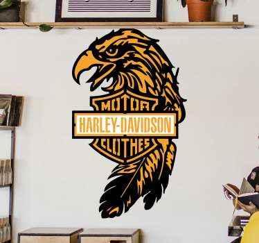 Autocollant de logo de harley davidson. Le dessin illustre le logo avec une tête d'oiseau et son nom est inscrit. Disponible dans toutes les tailles nécessaires.