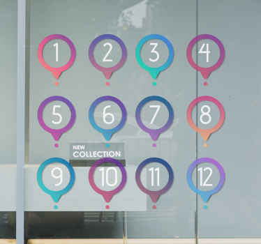 Customize your own numbers on this number pins sticker. The design is decorative on shop window,  vehicles, door, wall. Original and easy to apply.