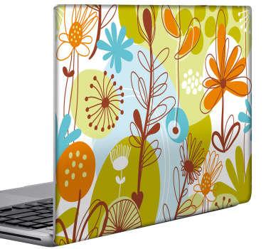 Blommig bärbar dator klistermärke