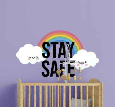 This rainbow decal features a colourful rainbow with two adorable smiling clouds on either end. Easy to apply and remove from surfaces.