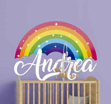 This rainbow sticker design features a rainbow with sparkles on it and the customer's personalised name underneath in white cursive font.