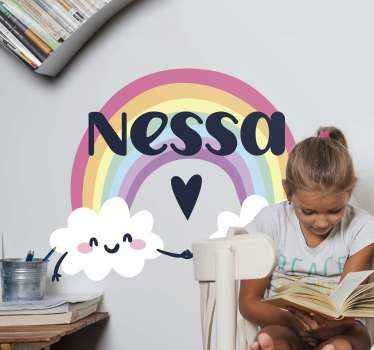 Lovely rainbow wall sticker for children bedroom. The design illustrates a rainbow with different colours and it is customized with name.