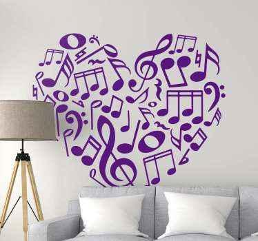 Une collection de notes de musique et d'autocollant de symbole en forme de coeur. Vous admireriez certainement ces stickerssi vous la collez sur n'importe ou