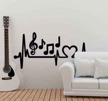 Musical notes with heart dJ sticker. A beautiful design to decorate a living room, bedroom and other spaces.  It is easy to apply and of high quality.