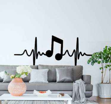 Decorative sticker for music lovers and enthusiast. A design illustrating music symbol and heart beat on a vertical  line. Original and self adhesive.