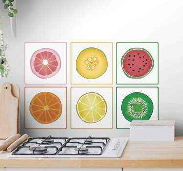 This tile sticker design features a sliced grapefruit, watermelon, orange, kiwi,  cantaloupe melon and lemon on a white background.