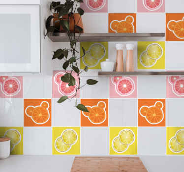 These brightly coloured tile stickers feature lemons, oranges and grapefruits sliced and on a yellow, orange and pink background.
