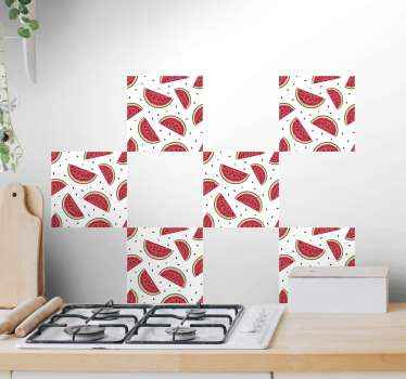 Decorative watermelon tile vinyl decal suitable for kitchen wall decoration. The design can also be applied on cupboard or drawer space of a kitchen.