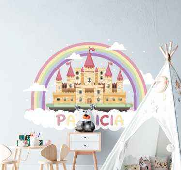This castle decal features a stunning fantasy castle sat on a bed of clouds and surrounded by a rainbow. Sign up for 10% off.