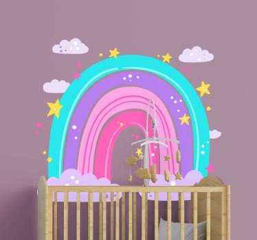 Ljubka ilustracija oblikovanje stenske nalepke mavrice z zvezdami in oblaki. Je primeren dizajn za otroško vrtec in otroško spalnico.