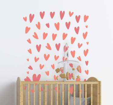 Beautiful hearts sticker design to decorate the room of a little child. It is pretty and you can customize the design in the size that you prefer.