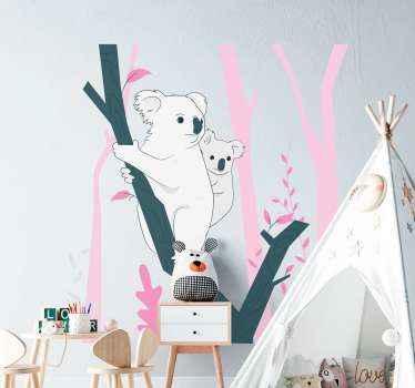 木の枝にぶら下がっている赤ちゃんコアラを描いた動物のウォールステッカー。あなたが木とジャングルの動物で装飾を探しているなら、完璧な選択です。