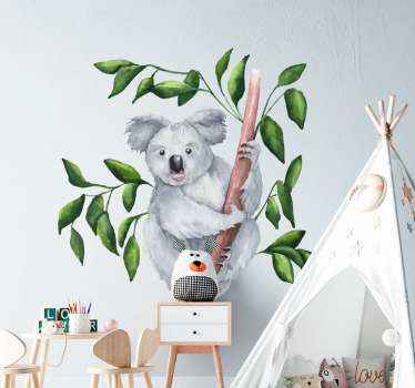 Decorative cute baby koala on tree sticker. A design suitable for children bedroom. We have the design customizable in any dimension required.
