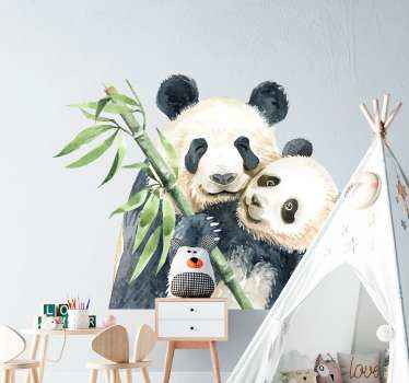 Cute pandas paint drawing vinyl sticker. The design illustrates two pandas on a tree branch. It is original, adhesive and easy to apply.