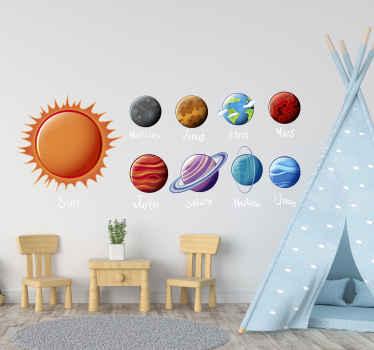 autocolante decorativo da parede do espaço do sistema solar. Você não vai querer perder este lindo pacote de produtode adesivos de nove planetas para o quarto das crianças.