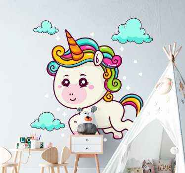 Magical unicorns animal wall sticker. Bring the fantasy of unicorn to the space of your kid with our original unicorn fantasy sticker design.