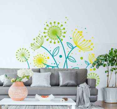 Dandelion flower wall sticker to enhance your living room space with a soothing touch and effect. Available in any size needed.