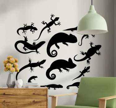 Tier Wandtattoo Design bestehend aus verschiedenen reptilien, die eidechsen darstellen. Es ist einfach anzuwenden und von hoher Qualität.