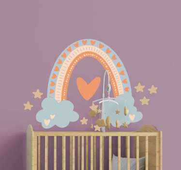 Beautiful design sticker illustration of a rainbow. The design is made in pastel color and it also contains cloud illustration with stars.