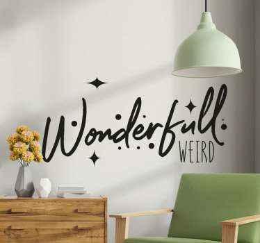 「素晴らしい」と書かれた碑文で作成されたテキストビニールデカール。このデザインであなたの家を素晴らしい経験と雰囲気で飾りましょう。