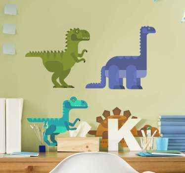 Decorative dinosaur animal decal created in geometric texture appearance. The design consist of three dinosaurs and one tortoise.