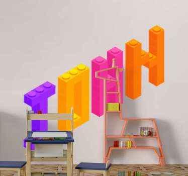 Gepersonaliseerde naam lego speelgoed sticker. Mooie en kleurrijke sticker met tekstpatroon voor de ruimte van de kinderkamer. Het is gemakkelijk aan te brengen en van hoge kwaliteit.