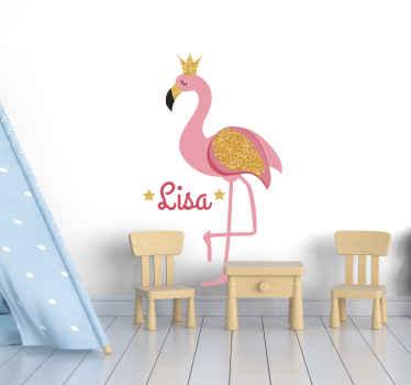 Personaliseer uw kinderkamer met een gepersonaliseerde flamingo met kroon sticker! Er is geen enkele manier waarop ze er niet van zullen houden! Perfect zonder residu na verwijdering.