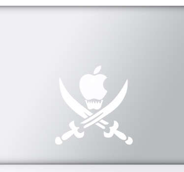 A MacBook sticker that illustrates an apple skull with two sharp swords from our collection of pirate wall stickers.