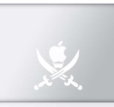 Sticker laptop doodshoofd zwaarden