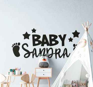 Personalized wall sticker with a name of a baby. It is a perfect decoration for a room of your newly born baby. Easy to apply, high quality.