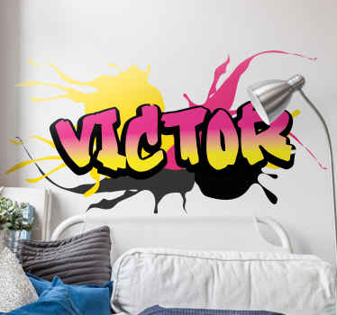 Decorative urban sticker design of a name in graffiti style with splash spray textured background. It is self adhesive and easy to apply.