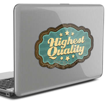 Retro laptop sticker med tekst