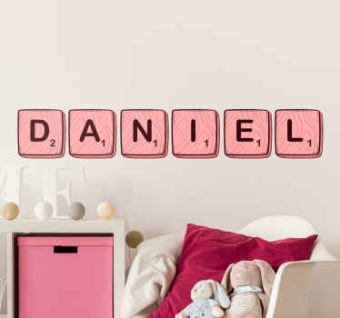 Decorate the name of your kid in the bedroom with our personalized scrabble name decal. A design  sticker imitating scrabble letters.